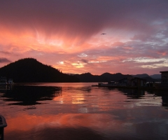Sunset over the Great Bear Rainforest, credit Sullivan Bay Marina