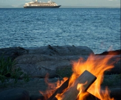 Beachfire, birds, cruise ship - credit Kim Windle