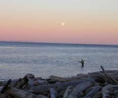 Fishing at Rotary Beach with moonrise - credit Gord Zmaeff