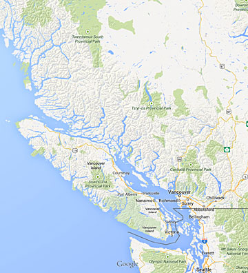 Google Map of BC Coast