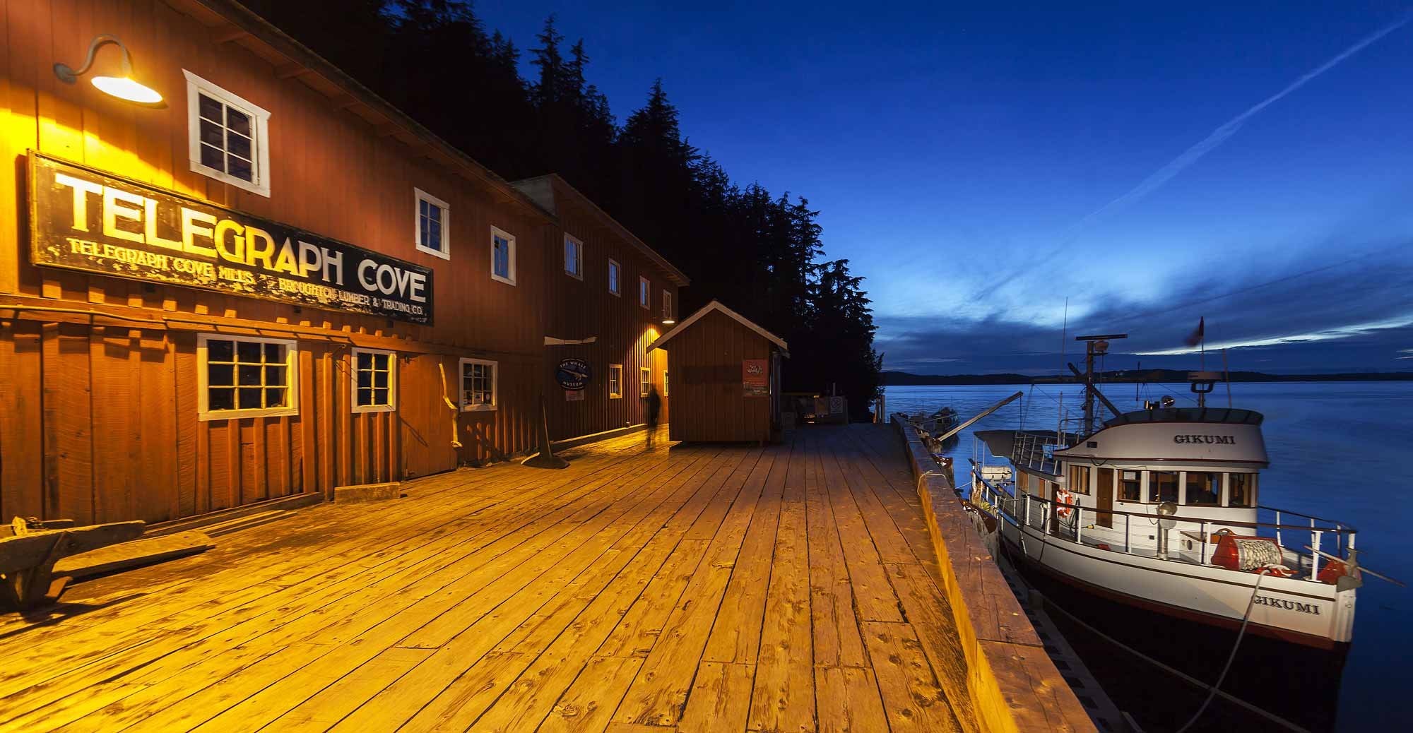 The Historic Whale Museum building and the origianl whale watching boat, the Gikumi at Telegraph Cove add to the appeal of this popular tourist destination.