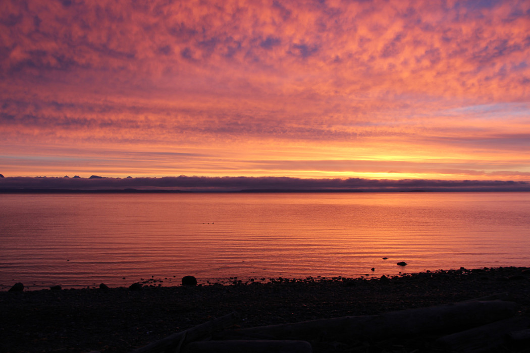 Sunrise ocean view Discovery Island British Columbia coast