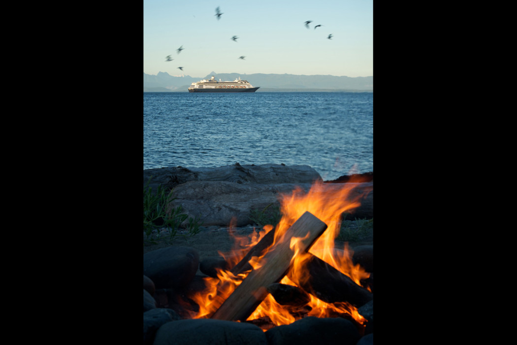 Beach fire, birds, cruise ship British Columbia coast